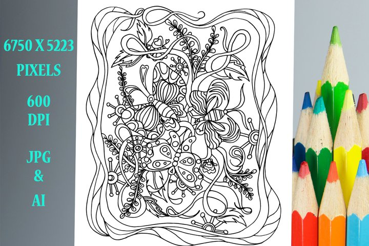 Butterflies Coloring Book Page/Poster
