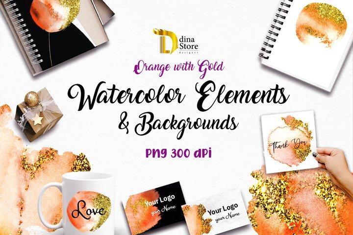 watercolor elements & Backgrounds cliparts - golden orange