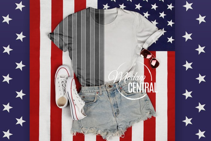 Womans Sublimation T-Shirt USA Mockup, America Shirt