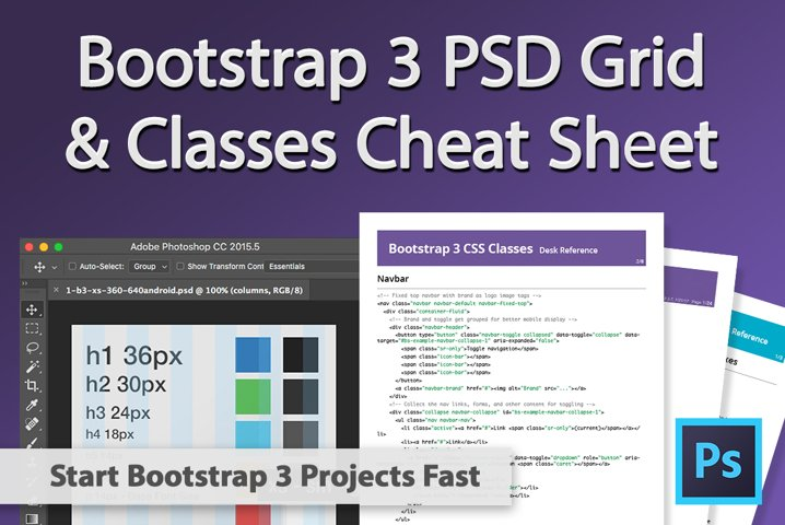 Bootstrap 3 Grid Template PSD and Cheat Sheets