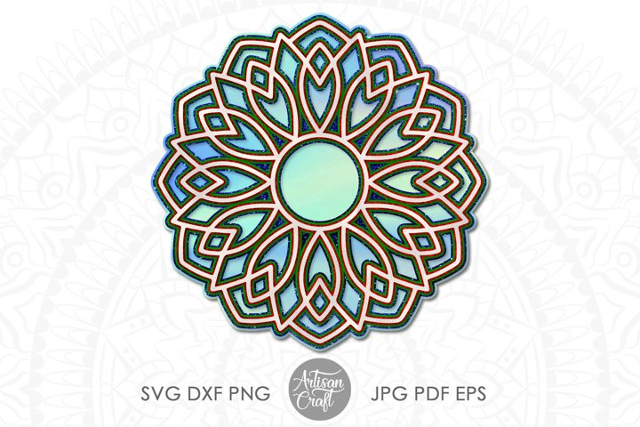 3D Layered mandala SVG, 3D paper sculpture, layered vinyl example