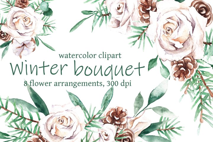 Watercolor winter bouquet with white roses clipart
