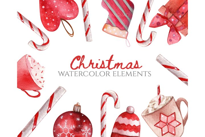 watercolor christmas set. Christmas tree toys, snowflakes