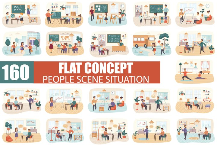 Flat People Character Scene Situation Creator Kit