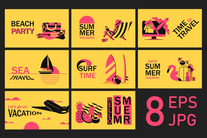Summer vacation, travel and rest on beach banners