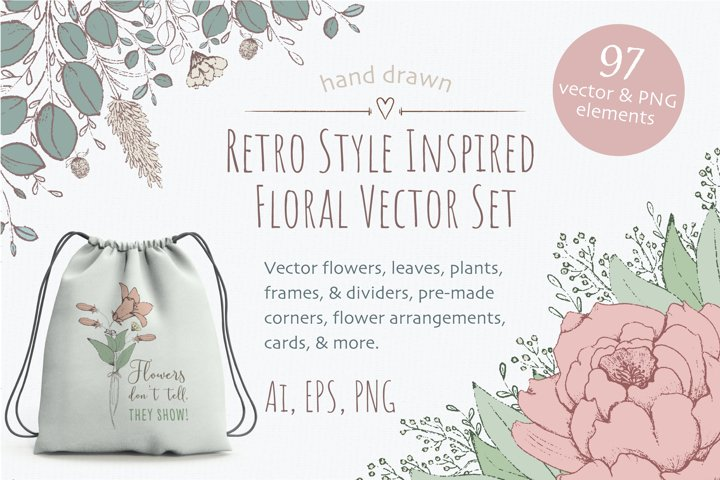 Retro Style Floral Vector Clipart Bundle - Flowers, Plants