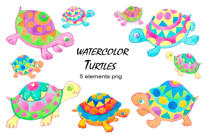 Turtles watercolor clipart collection