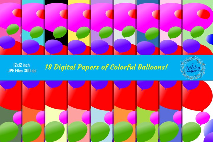 Balloons Pattern Digital Papers Birthday Party Backgrounds