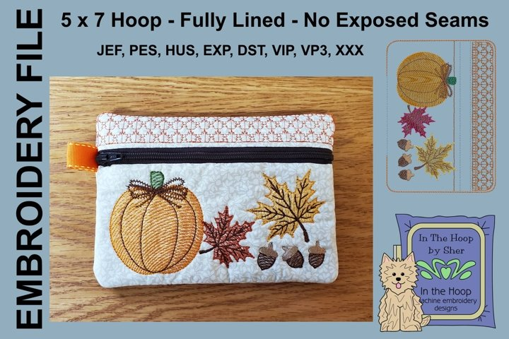 ITH Fall Harvest Zipper Bag - Lined, 5X7 HOOP