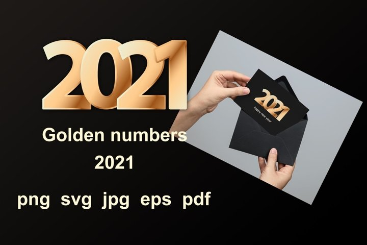 Golden numbers 2021 for Happy New Year holidays.