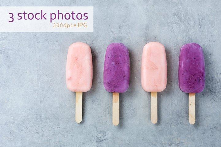Set of 3 stock photos of yogurt fruit ice cream