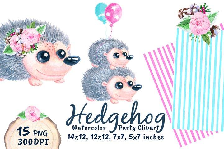 Cute Hedgehog Baby Shower Watercolor Png