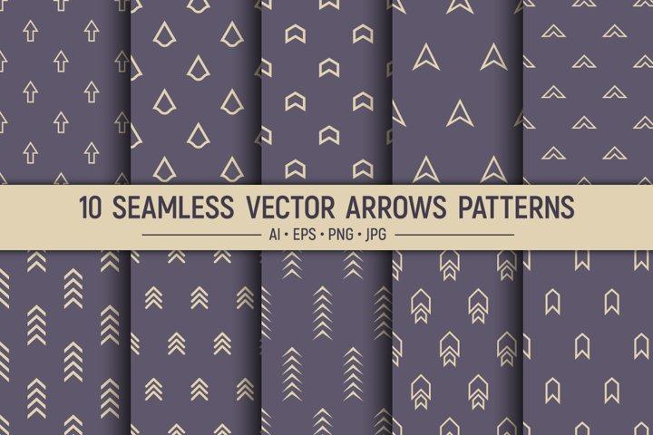 10 seamless geometric arrows vector patterns