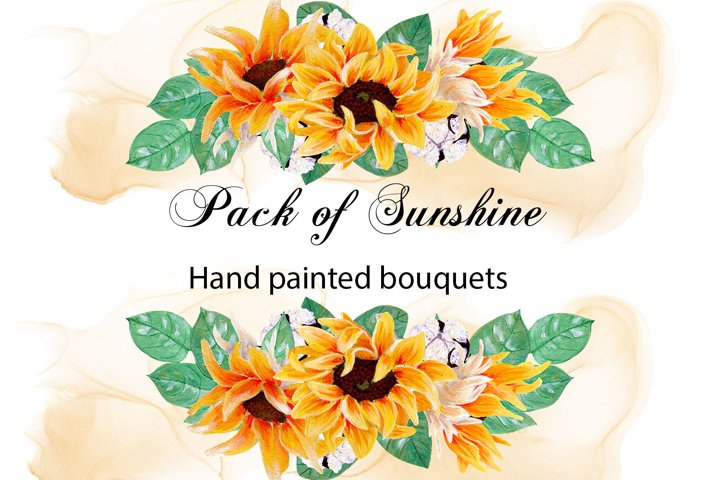 Pack of sunshine- hand painted sunflower bouquets