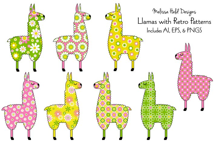 Llamas with Retro Patterns