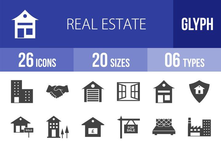 26 Real Estate Glyph Icons Season II