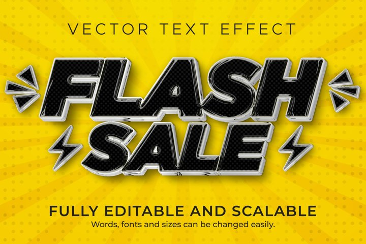 Flash Sale text effect, editable discount and offer text