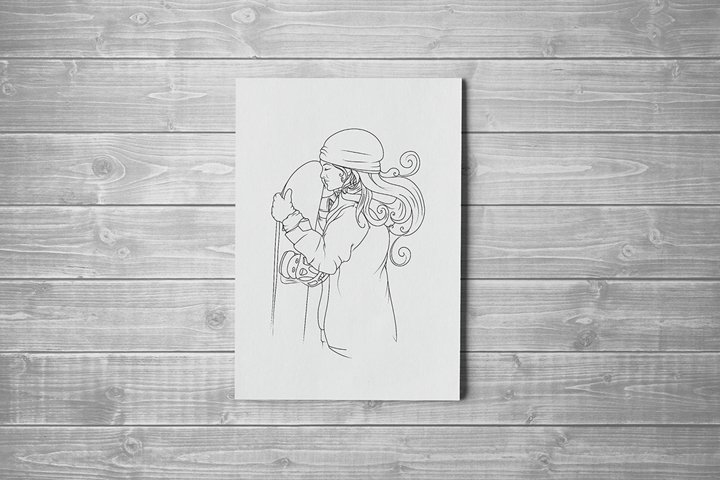 Snowboarder coloring page. Snowboard love. Snowboarding girl