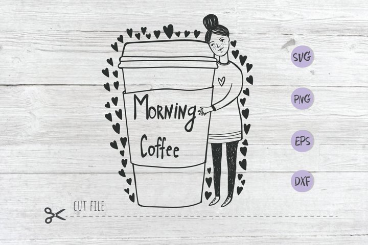 Coffee Cup SVG / To Go cup SVG file /coffee cup with flowers