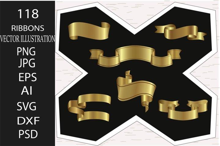 Ribbon. 118 Satin gold ribbons set. Vintage, christmas ribbo