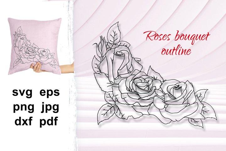 Bouquet of flowers svg, Rose outline, Roses outline SVG.