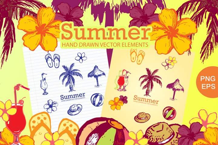 Summer Hand Drawn Elements Vector and PNG