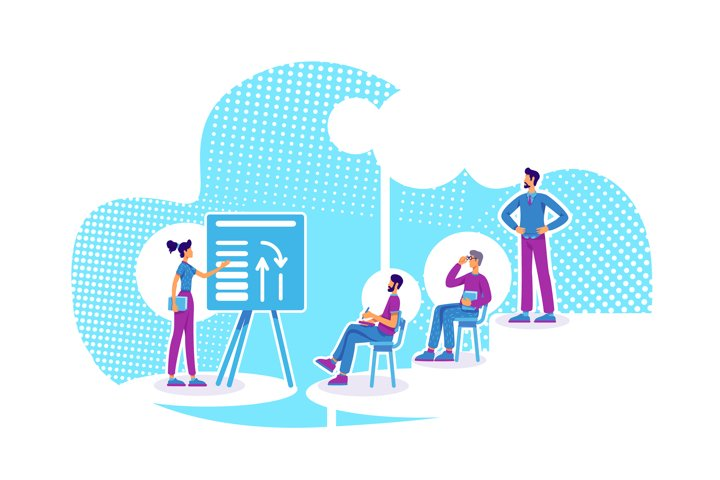 Business coaching flat concept vector illustration