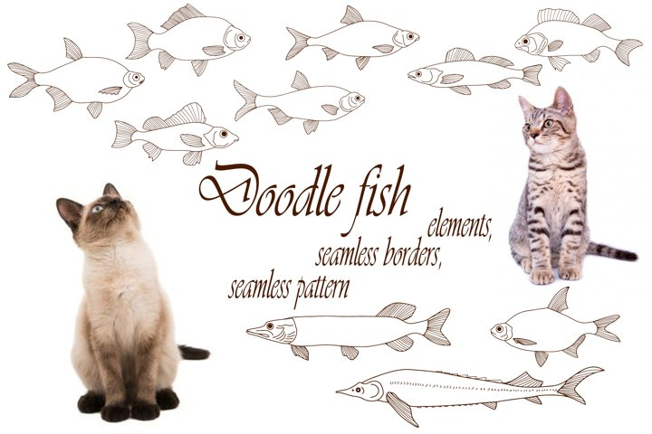 Doodle sea animals collection, seamless borders and pattern
