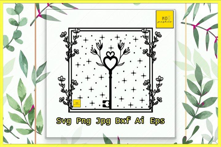 Key SVG, Key floral svg, Key with flower, floral svg, magic
