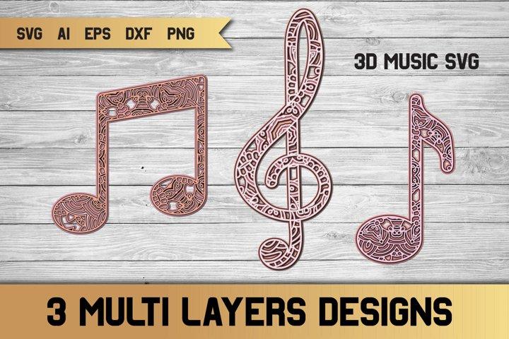 3d Layered Music Bundle SVG | Multi Layer SVG | Cut File