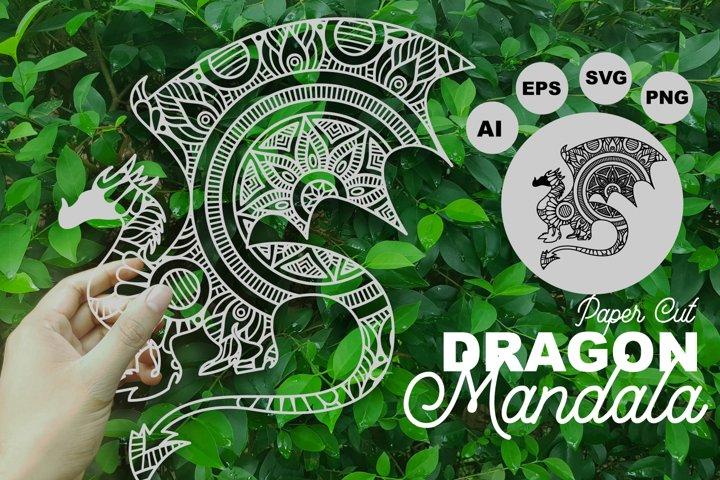 Dragon Mandala Paper Cut Template