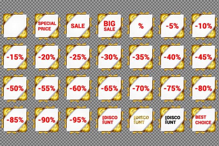 Set of 28 digital golden discount. No shadow, transparent
