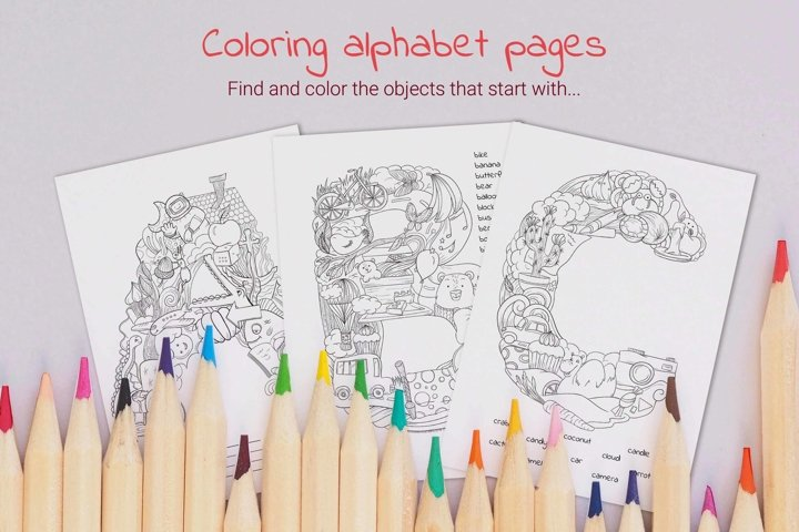 Alphabet coloring page seek and find activity for kids