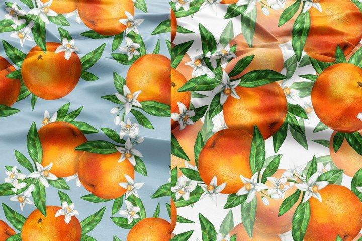 Seamless pattern blooming orange Fruits