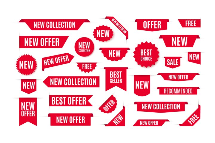 Collection of red labels, tags or banners. Vector and PSD