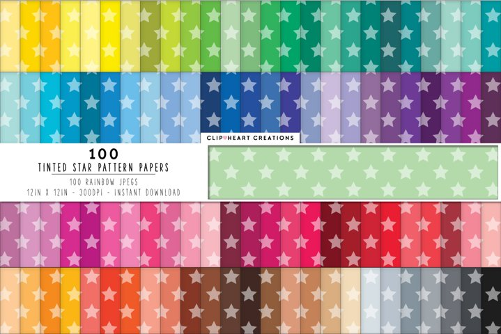 100 Tinted Stars Pattern Digital Papers - rainbow colors