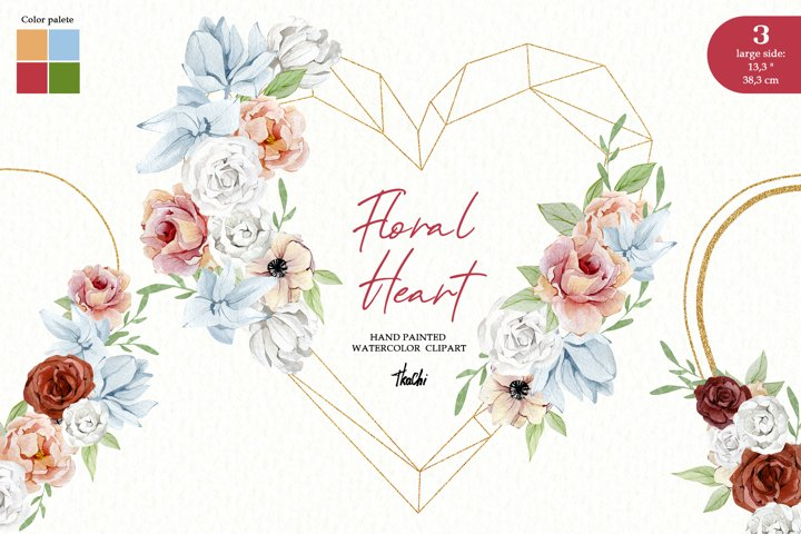 Watercolor Heart Valentine Wreath Floral Boho Frame clipart