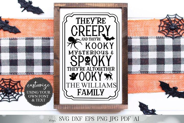 Halloween Family Last Name Cutting File Creepy and Kooky