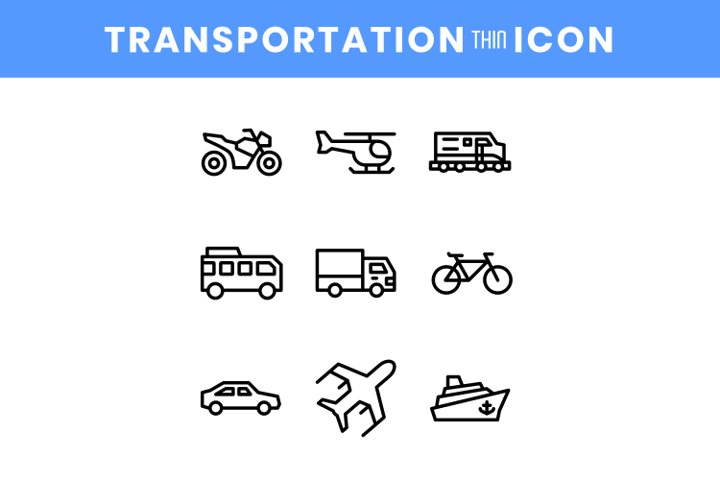 Set of public transportation line icon vector illustration