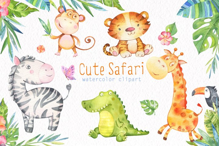 Safari Watercolor clipart. Big Set. Baby Animals patterns
