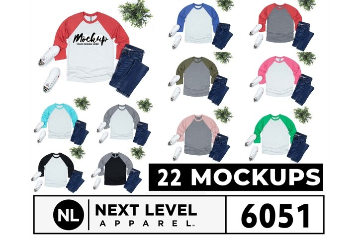 Next Level 6051 3/4 Raglan Mockups 22 Colors on White Bg