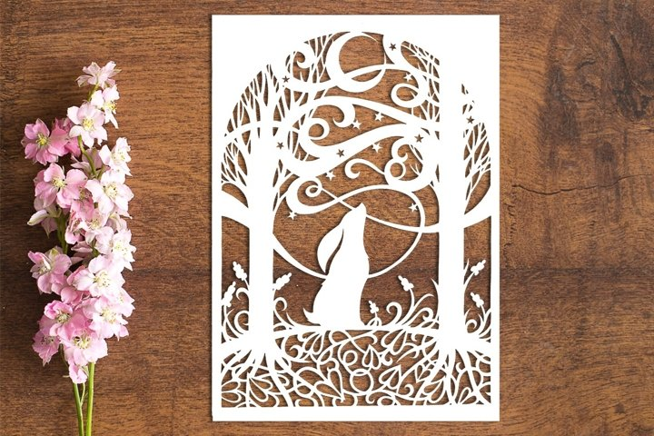 Moon Gazing Hare - PDF Template for Paper Cuttting by hand