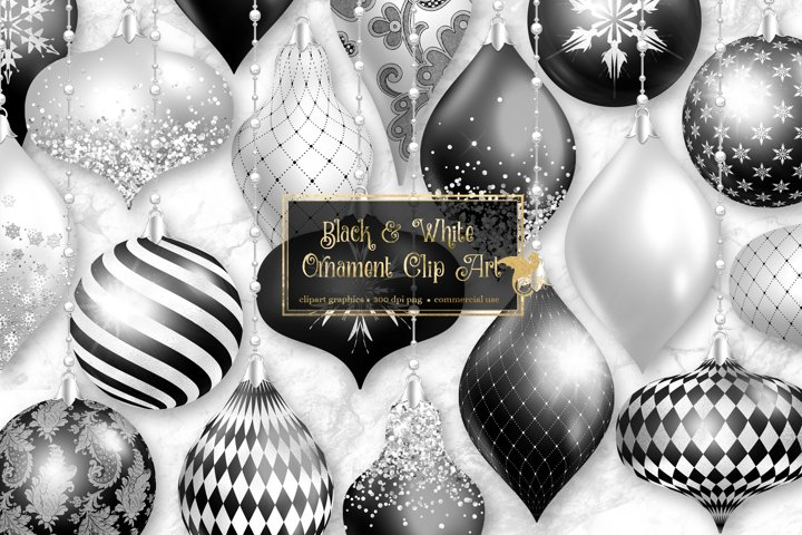 Black and White Christmas Ornaments Clipart