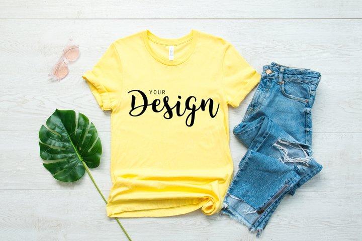 Bella Canvas 3001 Yellow T-shirt Mockup Unisex Tee Mock up