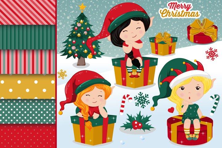 Christmas elves illustrations, Christmas elves graphics