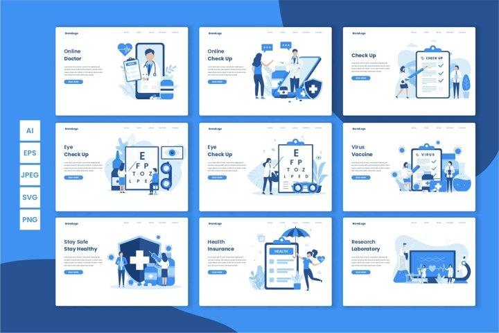 9 Medical flat illustration design concept