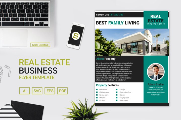 Real Estate Flyer Template Design with Tale Colour US Size