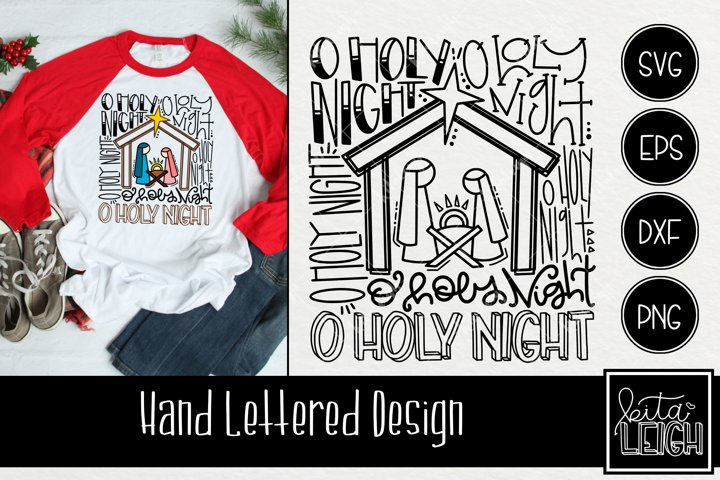 Oh Holy Night Christmas Typography