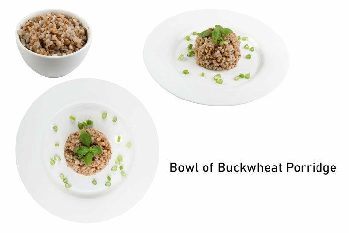Bowl of Buckwheat Porridge Isolated on White Background