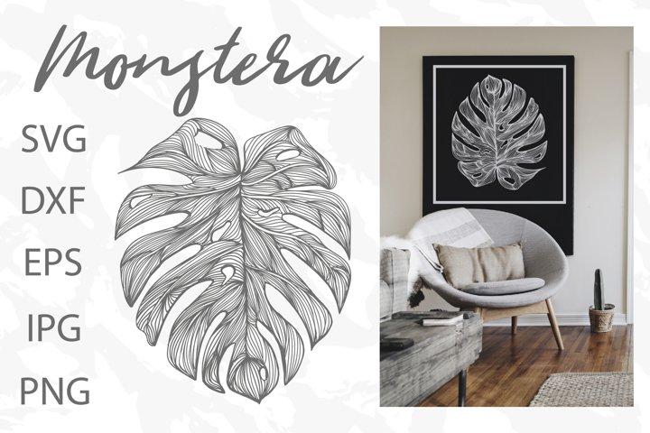 Monstera Tropical Leave SVG ,tattoo ,Digital Craft SVG
